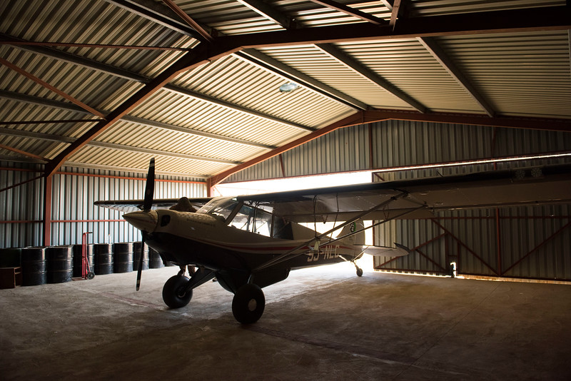 One of the FZS Huskys in the hangar. North Luangwa NP, Zambia. © Daniel Rosengren