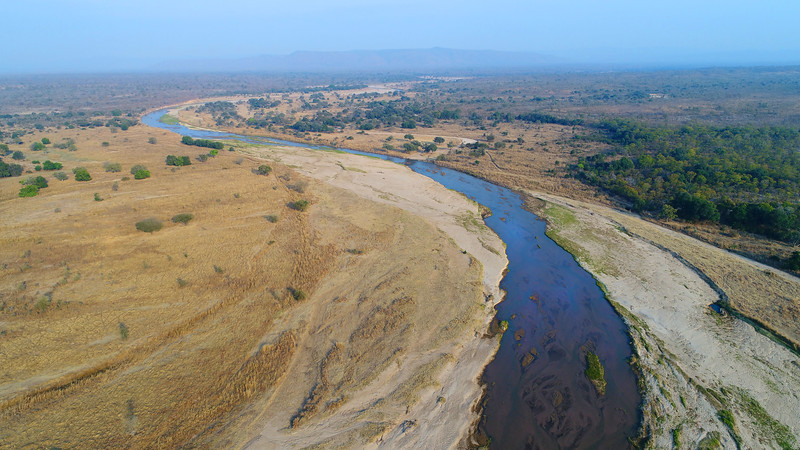 A river in North Luangwa NP photographed from a drone. Zambia. © Daniel Rosengren