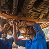 Mechanics fixing a car at the FZS garage in North Luangwa, Zambia. © Daniel Rosengren