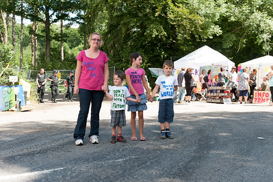 People protest against Fracking in Balcombe over worries of water pollution caused by Caurdrilla drilling operation.  Children protest to save water