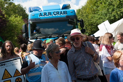 People protest against Fracking in Balcombe over worries of water pollution caused by Caurdrilla drilling operation.