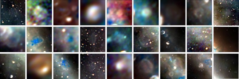 These are the 27 newly-discovered supernova remnants—the remains of stars that ended their lives in huge stellar explosions thousands to hundreds of thousands of years ago. The radio images trace the edges of the explosions as they continue their ongoing expansion into interstellar space. [Some are huge, larger than the full moon, and others are small and hard to spot in the complexity of the Milky Way.] Credit: Dr Natasha Hurley-Walker (ICRAR/Curtin) and the GLEAM Team.