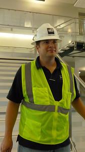 Big-D Construction project manager Rodney Cluff works in Building Three at WSU Davis.
