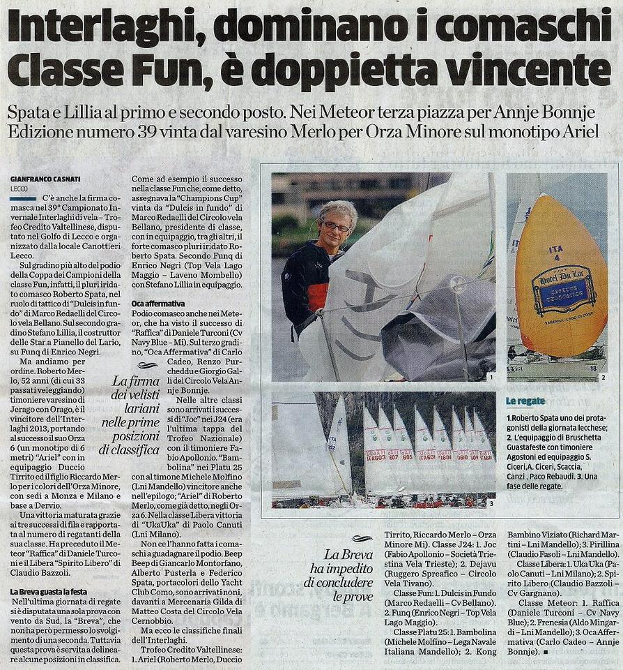 2013Nov04_interlaghi |La Provincia di Como| Interlaghi, dominano i comaschi Classe Fun, è doppietta vincente