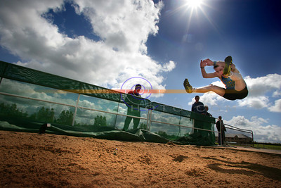Dennis Finnigan from Killarney caught in mid air at the County Championships Longjump competition at the Ricoht track in Castleisland. Photo Brendan Landy