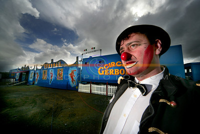 Michael Gerbola of the Gerbola Big Top Circus awaits for the arival of  the children and their parents  to their show in Listowel. Photo Brendan Landy
