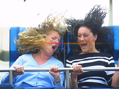 HAir raising stuff for thiese 2 Tournafulla girls Aine Collins and Helen Curtin as they enjoy the fun at the fair at the Foynes Festival. Pic Brendan Landy