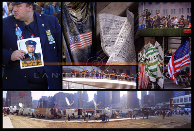 A Collage of images taken on the  1st Anniversary of the  9/11 disaster in New York. Photo Brendan Landy