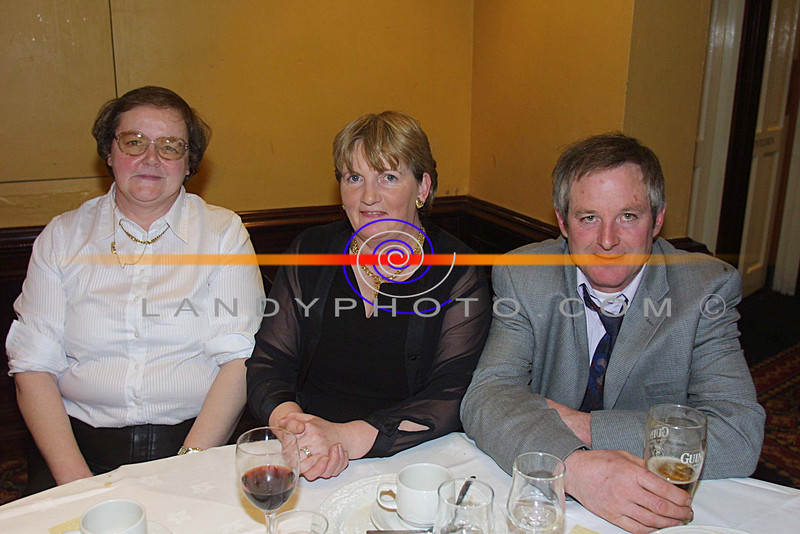Mary Byrnes, Bernie Keane and Gerard Broderick at the Duagh GAA social in the Listowel Arms Hotel .<br /> Pic Brendan LAndy
