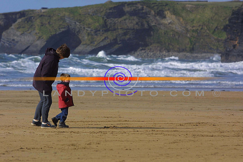 Follow my lead mummy, a littly boy and his mum out for a walk on the strand in ballybunion on Monday.<br /> Pic Brendan Landy
