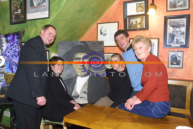 The Kerry Literary and Cultural Centre in Listowel who were winners of Best Public Building in the Recent TABLE awards recieve their prize at a speical awards night in John B Keane Bar in Listowel.<br /> Lto R Chairman of Listowel UDC Tom Walsh, Cara Trant ( Kerry Litterary and Cultural Centre) Artist Jamie Buckley, Billy Keane  ( Kerry Litterary and Cultural Centre) and Eileen Worths ( TABLE)<br /> Pic Brendan Landy
