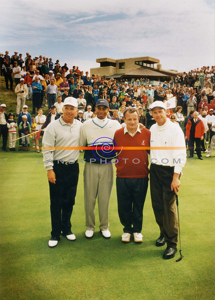 Mark O Meara, Tiger Woods Ballybunion Captain and the late Payne Steward  on their visit to ballybunion in July 99.<br /> Pic Brendan Landy