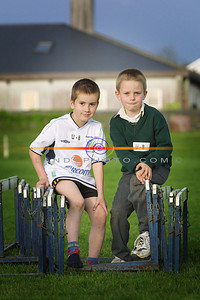 Luke Lynch and Evan Lyons both 7 from listowel atke a time out on the hurdles  at the Listowel community Games Finals in the Sports Field. Pic Brendan Landy