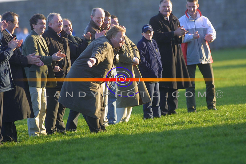 Eamon Caroll takes a bow as he is interduced to the stand as Listowel the winners of the North Kerry Championship 25 years ago attend this years north Kerry Championship.<br /> Pic BrendanLandy