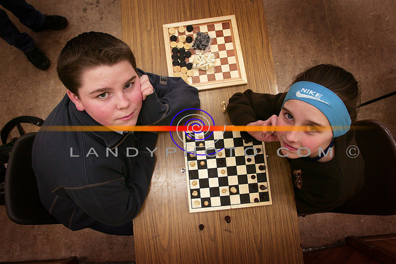 Chess buddies...<br /> Shane HAnnon and Barbra Mulvihill compete in the u/16 Listowel Community Games chess finals in St Michaels College.<br /> Photo Brendan Landy