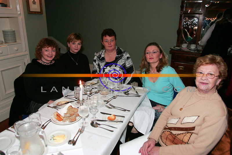At the ladies little christmas parties in the Listowel Arms Hotel  from left are Celia Hartnet Abbeyfeale, MArtina O Connor Sydney, CArina Prendiville Abbeyfeale, Cora O Brien  Listowel and Babe Keane  Knocknagoshel.<br /> Photo Brendan Landy