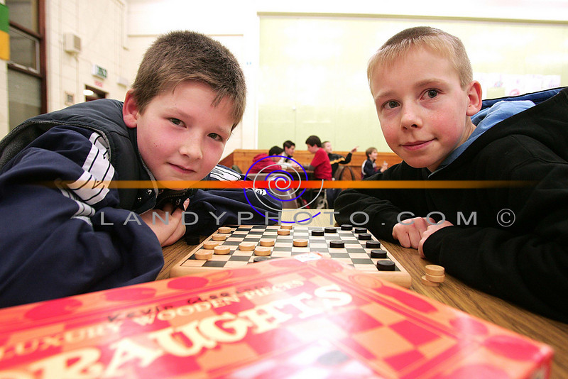 Kevin Gleeson and  Jerome McMahon from Listowel competing in the u/12 DRaughs competition  of the Listowel Community Games.<br /> Photo Brendan Landy
