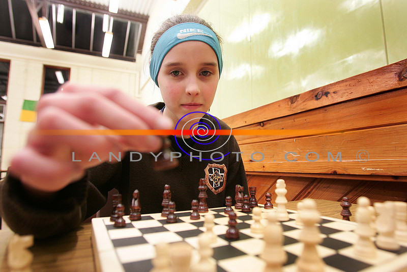 Making my move....<br /> Barbra Mulvihill  of Listowel makes a move at the Listowel Community GAmes Chess finals in St Michaels College in Listowel.<br /> Photo Brendan Landy