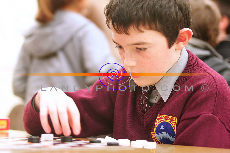 Daniel Collins from LIstowel thinks  before making the move in the Listowel Communitygames Chess and raughs finals.<br /> Photo Brendan Landy