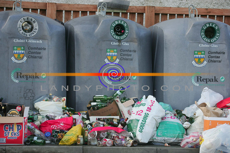 Sign of the times....<br /> Empty bottles left by the bottle bank in Listowel after the festive holiday partys over the new year.<br /> Photo Brendan Landy