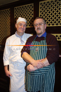 Castlegreggory chef Rory duffin of the hillville Hotel in Castlegreggory with traniee chef and Listowel Solictor Maurice O Sullivan at teh Ready steady Cook , demonstration at tHe Listowe Arms hotel as part the annual Food Fair. Pic Brendan Landy