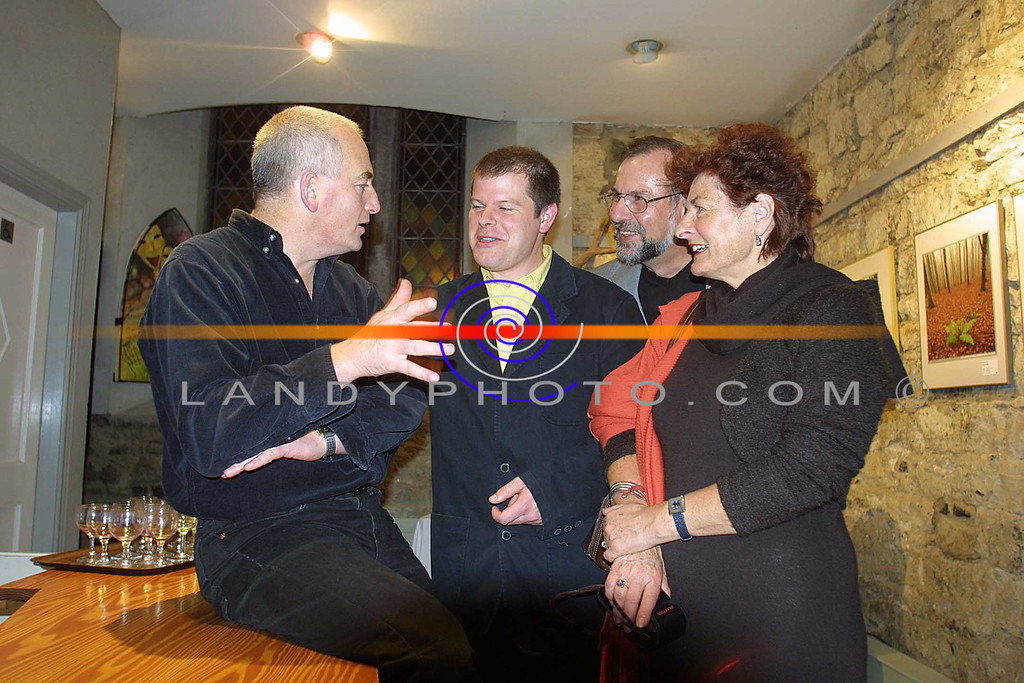 "Artistic Director of St Johns in Listowel Joe Murphy in discussian with listowels newest playright Christian O Reilly after the listowel showing of his award winning play  ""it Just Came Out"" with also Robbie  and Liz O Reilly.<br /> Pic Brendan Landy"