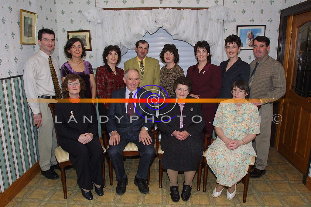 John Joe and Kitty Barrett of Lower Athea with their sons and daughters , on their 50th wedding anniversary celebrations.<br /> Front , Mary John Joe , Kitty , and Cathy Barrett.<br /> Back Lto R: Patrick, Loretta, Bernadette, Tommy, Josaphine, Agatha, Ester and Johnny Barrett.<br /> Pic Brendan Landy