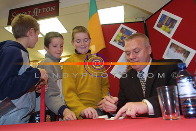 Listowel Boys cue up to get Paidi O Sheas autograph at the Book signing in Listowel. Pic Berendan Landy