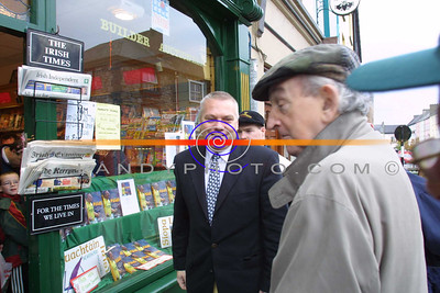 Paidi O shea arives at Hannons Book Store in Listowel , to be greeted by fellow scribe John B Keane at the Signing of  Paidi his autobiography. Pic Brendan Landy