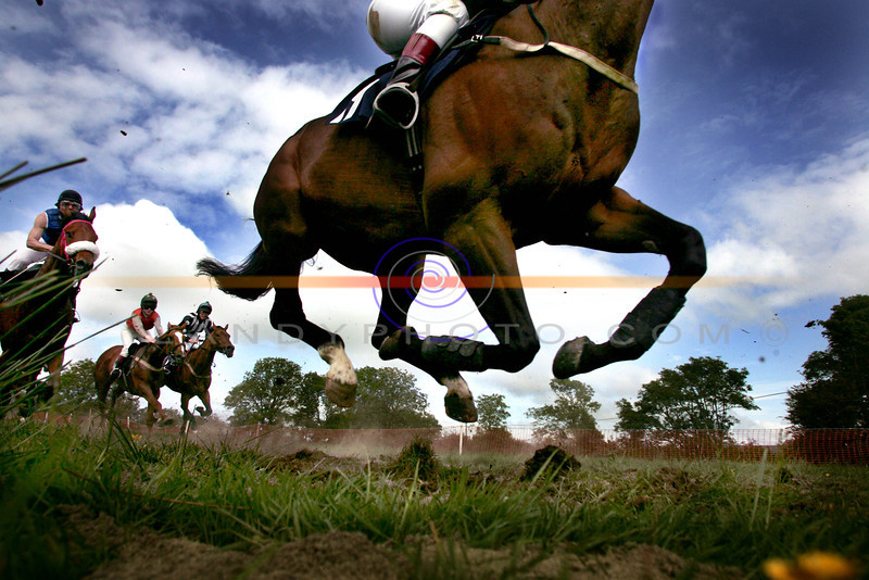 Low Down mid air action from the  Open Maiden Horse Race at the annual Athea Races on Sunday.<br /> Pic Brendan Landy