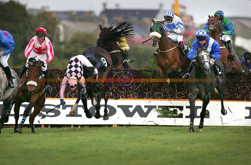 """Ruf and Tumble of Racing....<br /> D Flannery and his horse """"Inchiquin Castle"""" suspend in mid air waiting to roll as they come apart in the Handicap Chase in Listowel on Tuesday.<br /> Pic Brendan Landy"""
