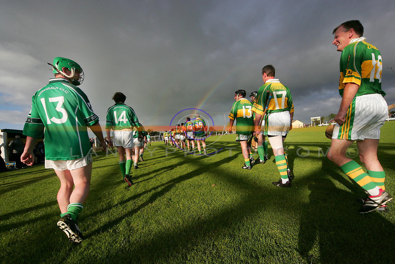 At the end of the rainbow there a crock of gold...<br /> Limericks Gearoid McGrath and Kerrys 18 ?  having a chat during the parade before the game.<br /> Pic Brendan Landy