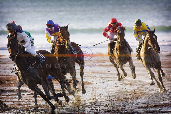 Splashing action at the Ballyheigue races that were switched to the strand in favor of the mucky field in which the  meting last week was cancled from.<br /> Pic Brendan Landy