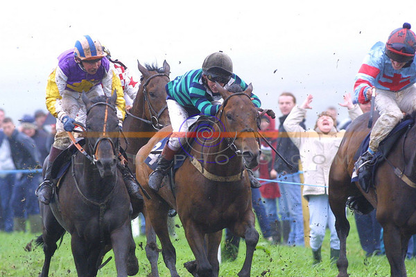 """Jockey Brian Carey is not the only person celebrating """" Johnnys  Dream"""" as in the background a happy punter is delighted with the horses win in the ballybunion Guiness Derby.<br /> Pic Brendan Landy"""