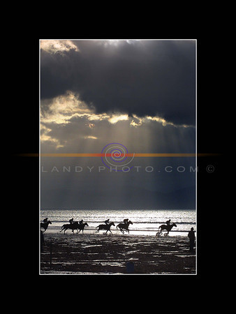 Action from the Open Horse race at the annual Ballyheigue races on the main strand in the North Kerry Sea Side Resort. on a cold and windy first Sunday of the year.<br /> Pic Brendan Landy