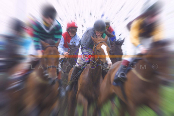 High speed action from  the ballybunion races as the boy and girl  jockeys compete on a level playing filed for the honours of the Derby final in Ballybunion.<br /> Pic Brendan Landy
