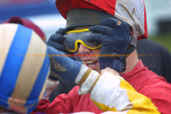 Goggeling up... jockey  Stephen O Donovan from Dunmanway in co cork gets ready for the Ballybunion Guinness Derby.<br /> Pic Brendan Landy