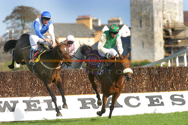 Central Billing with  T J Murphy lands ahead of  Mandys Gold D N Russell to go on and win the Kerry Petroleum Handicap Steeplechase in Listowel on day 2 of teh festival meeting.<br /> Pic Manuella Dei Gradi/Landy Photo