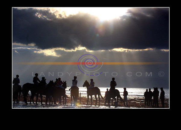 Young Jockeys  gather their horses at the start of the  open horse race at the Ballyheigue races that were transfered to the beach from last week when weather  put a stop to last weeks meeting.<br /> Pic Brendan Landy