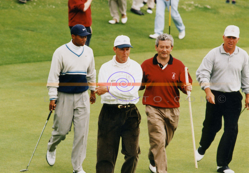 The Late Payne Steward celebrates his hole in one  in Ballybunion with Tiger Woods and Mark o Meara on their visit to the Famous Linx Course prior to the British Open in July 1999. also included is Ballybunion vice captain atthe time Fintan Scannell.<br /> Pic Brendan Landy