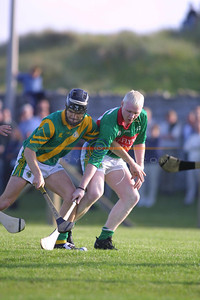 ? ( Killmoyley) and David Kearney of Crotta battle it out togeather for the ball on the Ground. Pic Brendan Landy