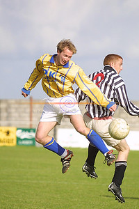 Killorglin Substitute Jason Griffen and Ballybunions Anthony Bennett in Mid air clash for the ball in the Reserve Cup in Tralee. Pic Brendan Landy