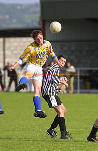 Hard on Action as KillorglinsMikey Griffen rises high to make contact on the Balll for killorglin in the Reserve cup against Ballybunion. Pic Brendan Landy