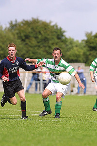 Parks Stephen Enright and Celtics Jimmy Dore watch as the ball drifts away from them in the Premier league play off in Tralee. Pic Brendan Landy
