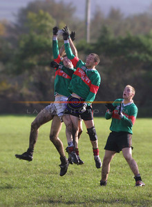 A 3 way airel combatry of Beal players tak on one moyvane player in the replay in Finuge on Sunday. Pic Brendan Landy