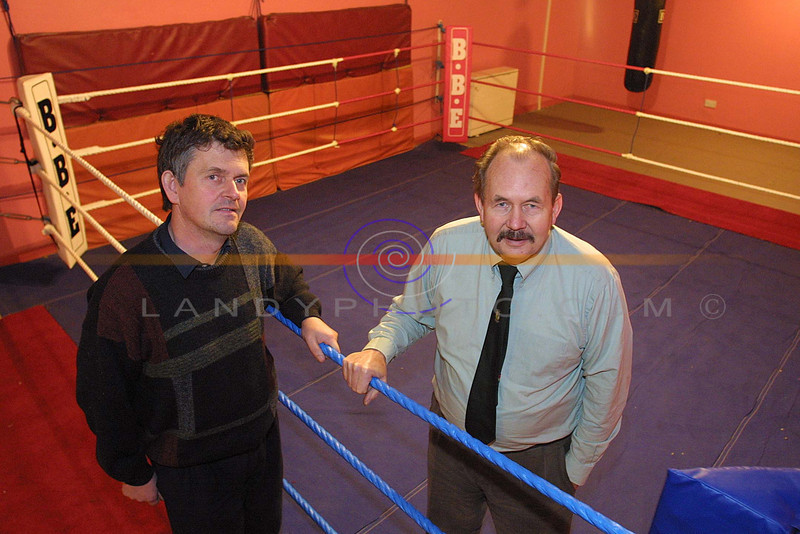 Johan Costello chairman of Ballybunion Community centre with  Paddy Fitzmaurice Chairman of the Kerry County Board of boxing in the new premises for the Cashen Vale Boxing club, fully kited out with ring and and traning facalities at Ballybunion community Cantre.<br /> Pic Brendan Landy