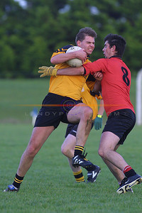 Listowel Emmets Garry Stack  tries hard to get by Tarberts  Aiden Holly in the North Kerry championship First round Clash in Ballylongford. Pic Brendan Landy