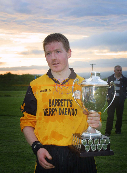 Listowel Captain Billy Mc Elligott with the North Kerry Div 3 championship cup.<br /> Pic Brendan Landy