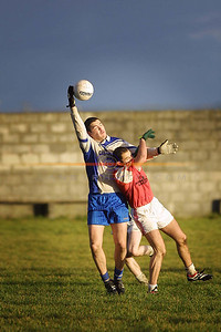 Blinded ball controle by Kenneth Dillion behind Brosna's Kieran Curtin. Pic Brendan Landy