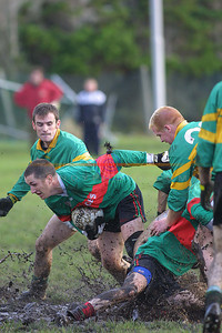 Mud bath of a replay in Finuge as Beale and Moyvane fight it out again , here Beales Colm Kissane  gets hold of the Ball  as Moyvanes Eddie Bowler looks on. Pic Brendan Landy